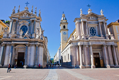 Twin churches at the entrance to Piazza San Carlo