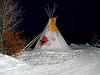 Natural Habitat Adventures Northern Lights tour, 6-13 Feb 2017.  Churchill, Canada.  Dave Daley's teepee at night.