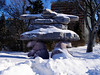 Natural Habitat Adventures Northern Lights tour, 6-13 Feb 2017.  Churchill, Canada.   An inukshuk on the grounds of the Manitoba Legislative Building in Winnipeg.  This inukshuk is being supported by polar bears.