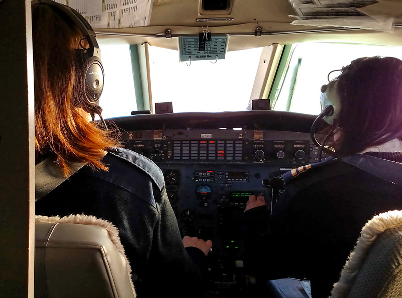 Natural Habitat Adventures Northern Lights tour, 6-13 Feb 2017.  Churchill, Canada.  Our charter flight has a female crew- and not displeasing to the eye!