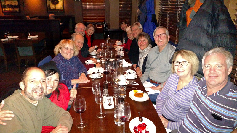 Natural Habitat Adventures Northern Lights tour, 6-13 Feb 2017.  Churchill, Canada.  Our Farewell Dinner in Winnipeg at a local restaurant.  A good time had by all!
