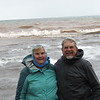 Susan and Dick on the shore of Lake Superior at the Presque Isle River.