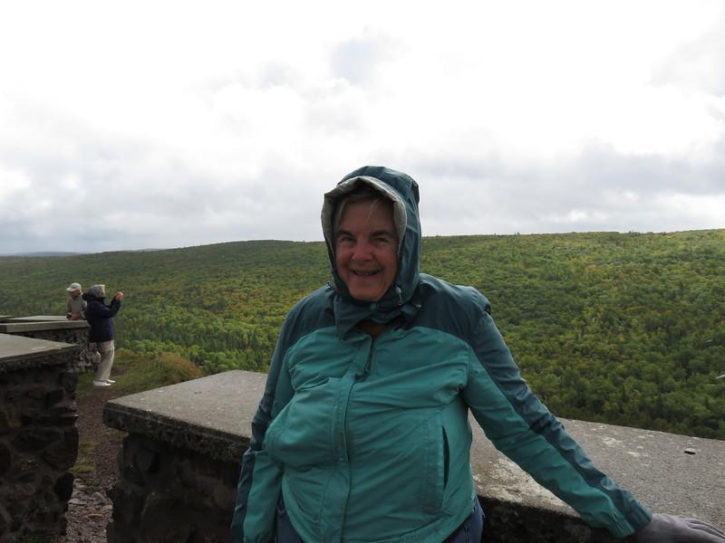 Susan on the Brockway Mountain drive near Copper Harbor in the Keweenaw.