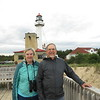Susan and Dick at the Coast Guard station at Whitefish Point on the shore of Lake Superior near Newberry