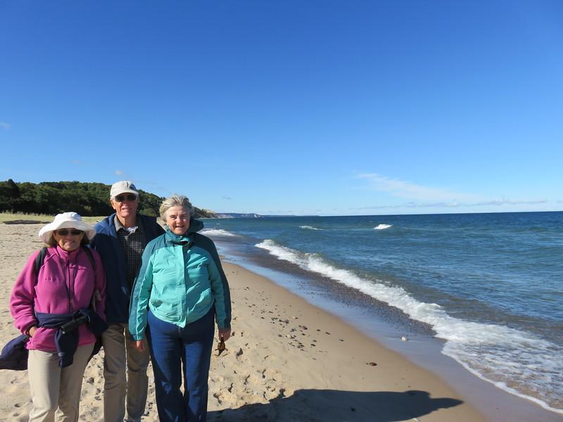Jean, Walt and Susan on Agate Beach at Grand Marais, Lake Superior