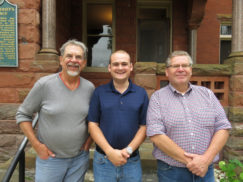 Dick, Sterling McGinn, and John Kronquist at the Luce County Historical Society
