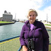 Susan on the ferry as we enter the Soo Locks.