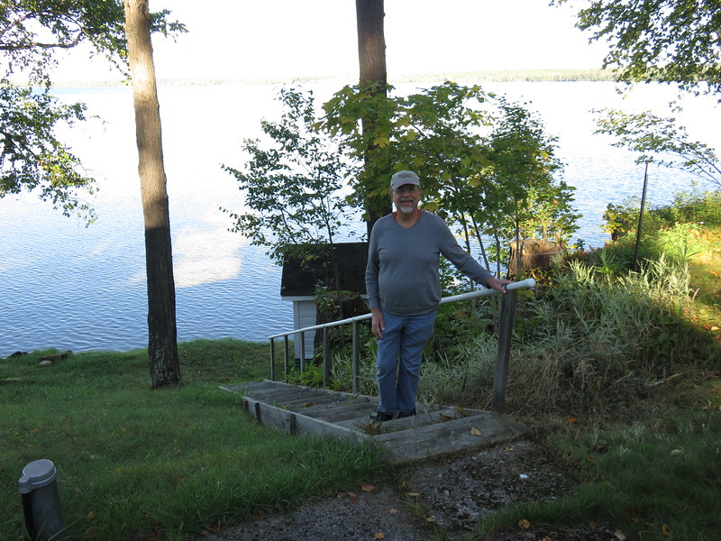 View of the steps to the lake and spring house.  The dock has been missing for years.