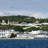 Mackinac Island Harbor with Fort Mackinac on the hill