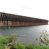 "Ore dock in Marquette for loading iron ore from the Marguette iron range.  A picture of a similar dock appears in the book ""Paddle to the Sea"""