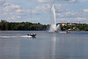 Centennial Fountain in Little Lake in Peterborough, Ontario.