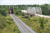 Fauquier, Ontario. Ontario Northland Railway bridge (red). Highway 11 bridge on right.