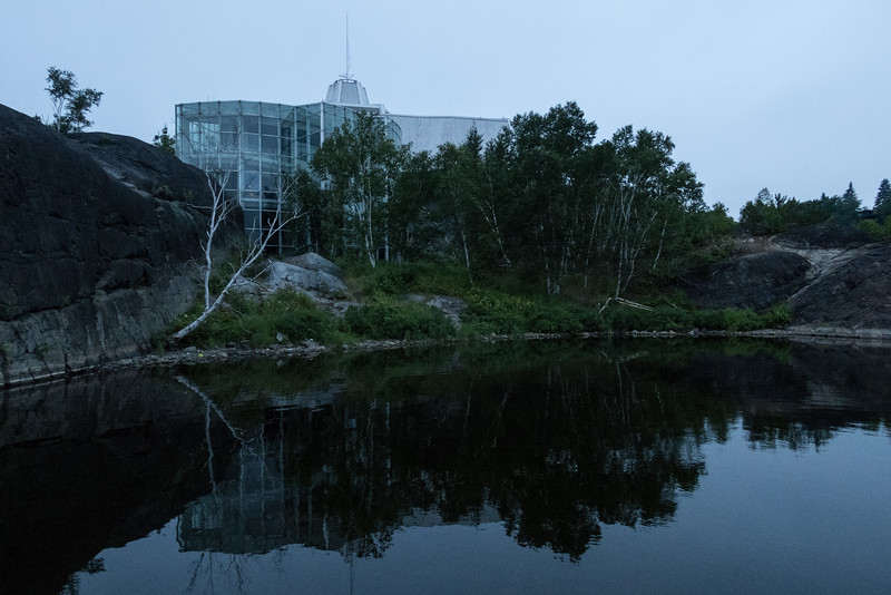 Science North after sunrise on a cloudy morning.