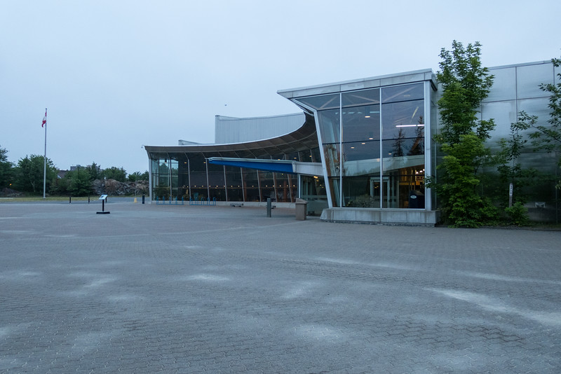 Science North entrance on a cloudy morning.