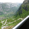 Looking down at the road to Lysebotn - 27 hairpin bends and a tunnel that turns through 360 degrees!!