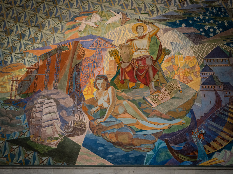 Fresco by Alf Rolfsen Depicting Oslo's Patron Saint, St Hallvard and the Woman He Rescued.  Oslo City Hall