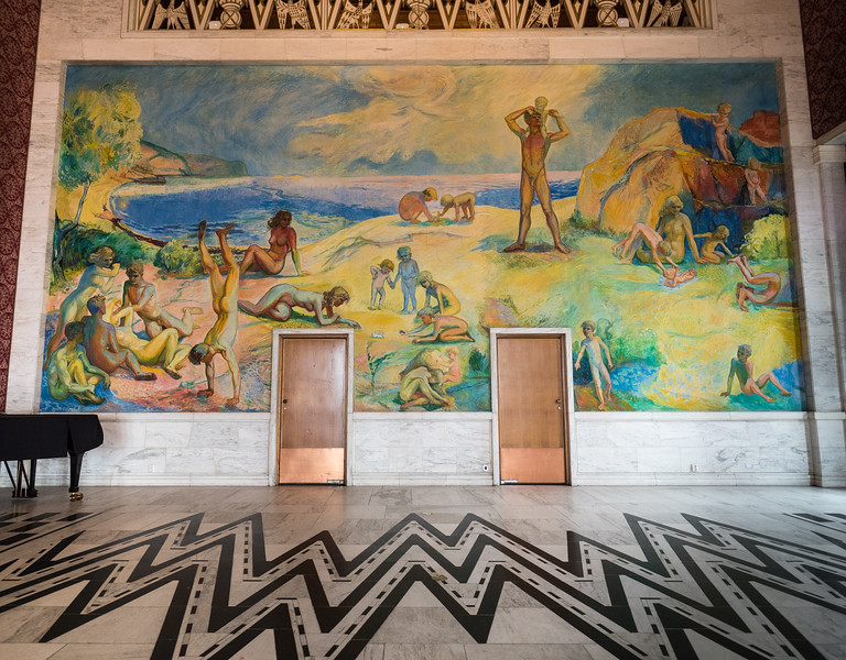 The Oslo City Hall Banquet Hall, Frescoe by Willi Midelfart Depicting Oslo Fjord