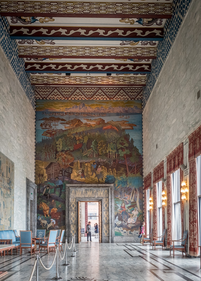 Oslo City Hall Festival Gallery, Frescoes by Axel Revold Depecting Norwegian Industry