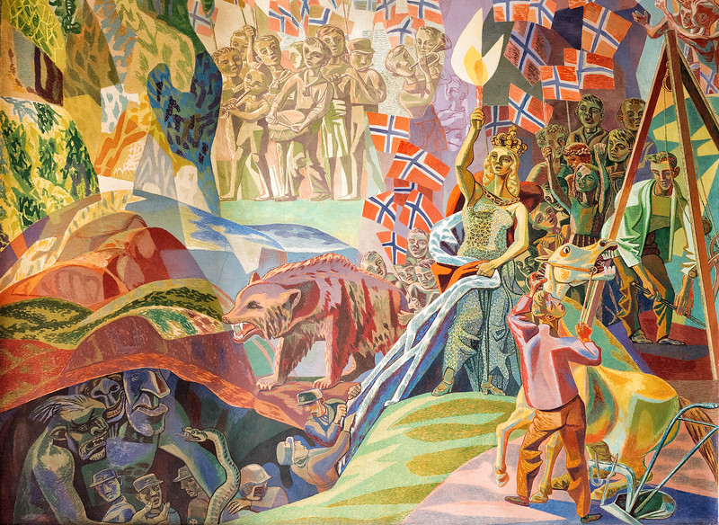 Human Rights Mural by Aage Storstein, Oslo City Hall