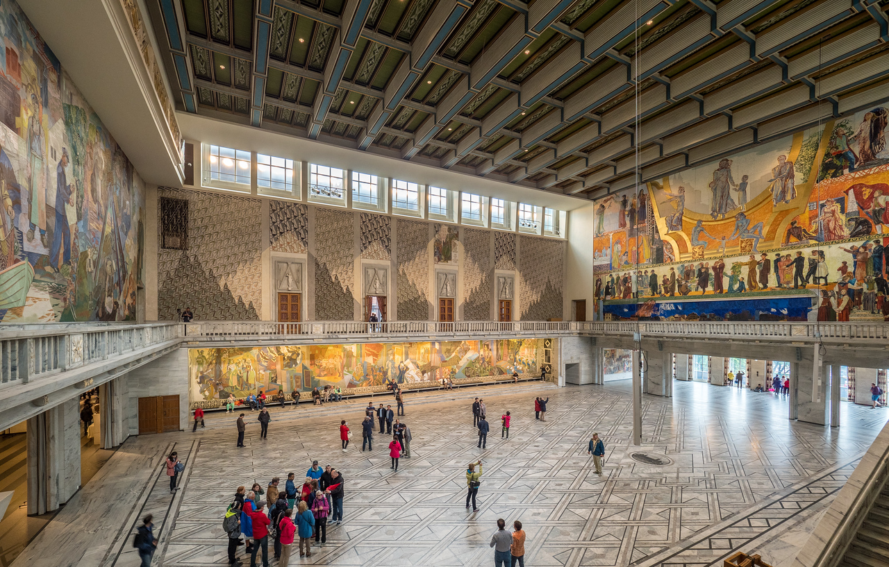 The Great Hall, Site of Awarding the Nobel Peace Prize, Oslo City Hall