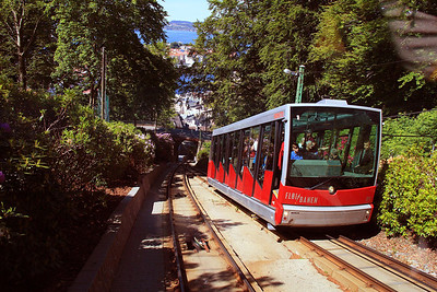 The funicular railway in Bergen takes passengers to the top of Mt. Floyen for a great overview of the city. I never expected to get this clear shot of the other railcar.  Jan and I were the last two passengers to board our cab for the return trip to town. With Jan seated and no seats left, the conductor had me sit on the steps at the very front where commercial photographers take the postcard shots. Talk about luck!