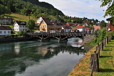 Idyllic small town of Stryn, Norway.