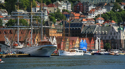 Waterfront in Bergen as seen from downtown just across the harbor.