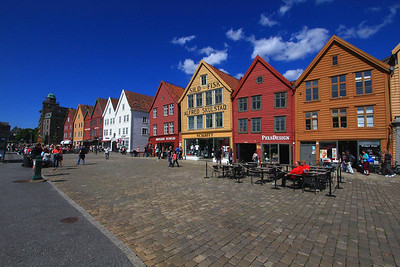 Old Town District of Bergen Norway, called Bryggen, and the trademark waterfront buildings that date back to the 14th century.