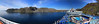 A 207 degree wide panorama of the bay and our cruise ship at Honningsvag, Norway. The starboard handrail at forward and aft is seen here, heavily distorted by the wide angle and panorama stitching.