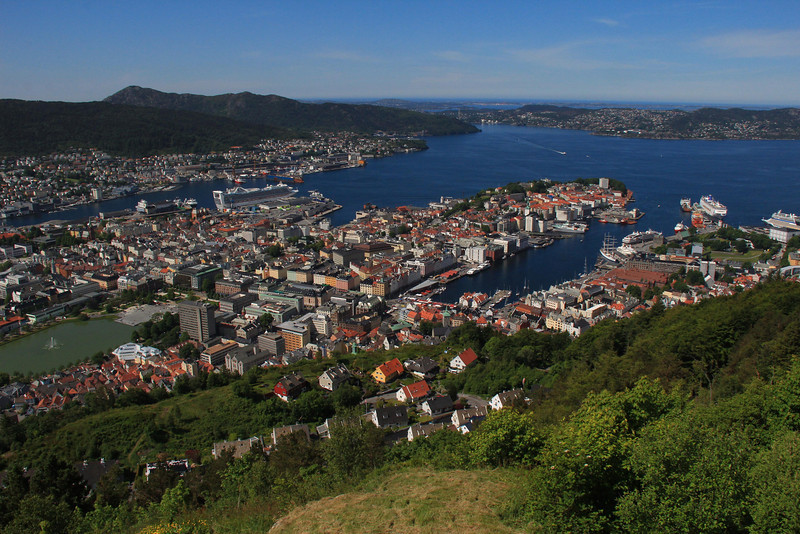 Looking northwest across Bergen, as seen from Mt. Floyen. The North Sea is in the distance.