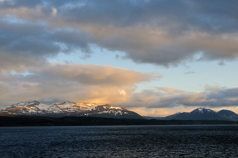 The never setting sun between Molde and Ålesund, Norway.