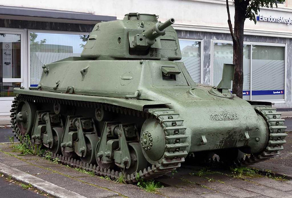 Hotchkiss H35 light tank, Narvik war museum, 24 July 2015 1.  France built about 1200 of these tanks between 1936 and the German invasion in 1940.  Most received a 1939 modification with a more powerful 37mm gun.  This is one of about 15 brought to Narvik by the French in April 1940.  Most were evacuated to Britain in June.  This one may have been left behind because it was damaged.  It was probably used by the Germans after they occupied Norway.  It is now one of only nine tanks of this type to survive.