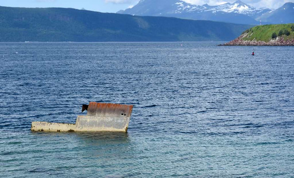 Ofotfjord, Norway, 23 July 2015 3.  Unidentified wreckage about five imiles west of Narvik.