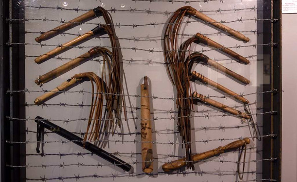 Concentration camp whips and truncheons, Narvik war museum, 24 July 2015