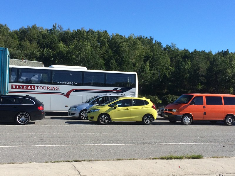 """Our trusty neon car - """"bil"""" in Norwegian, so that's his name :)<br /> In line for the ferry."""