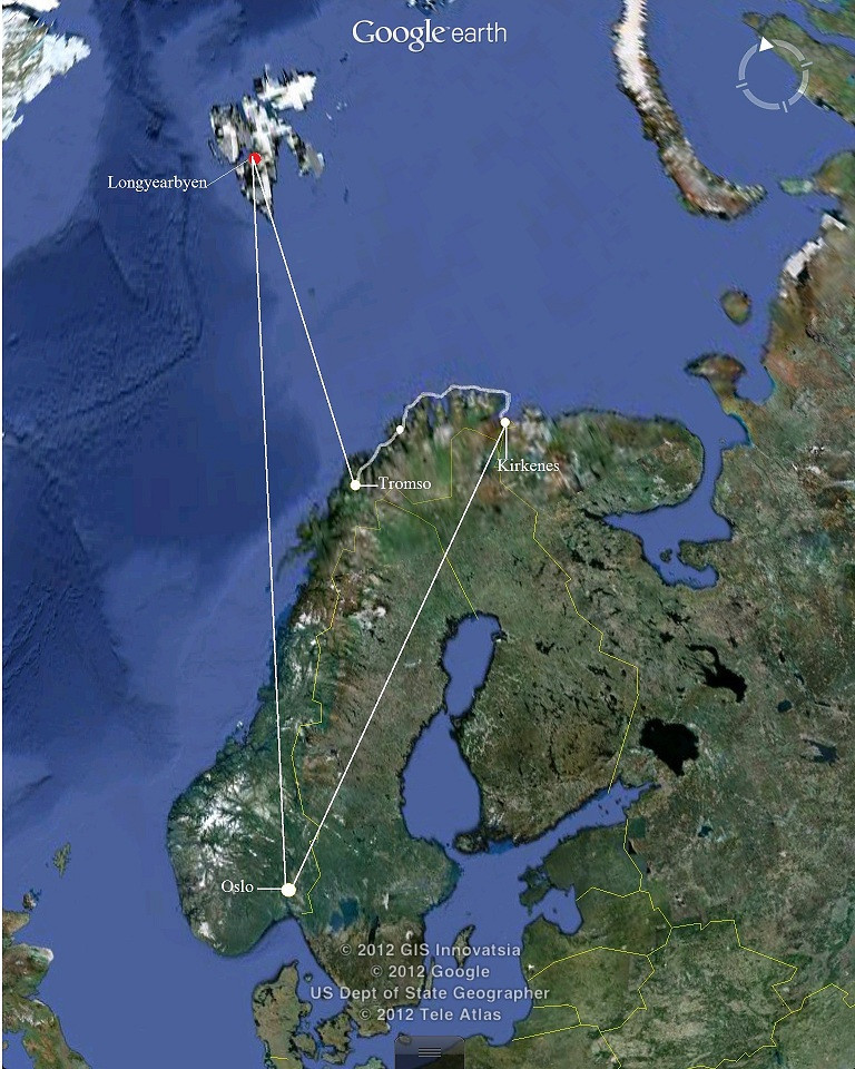 From Oslo fly to Kirkenes. Then cruise to Tromso. Fly to Longyearbyen in Svalbard.