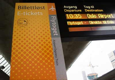 Took the Flytoget train from Oslo airport, takes 20 min and cost $30 dollars. everything in Norway is expensive. About 20-30 for breakfast, 30-40 lunch, etc.