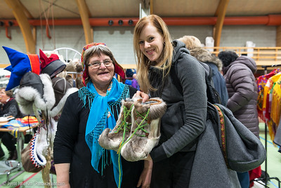 Our friend Emila bought a hand-made reindeer skin shoes
