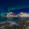 Haukland rocks with aurora