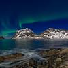 Haukland rocks with aurora