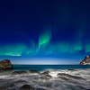 Utakliev surf and aurora show