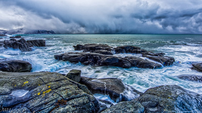 Vikten Beach - frozen pools and stormy seas