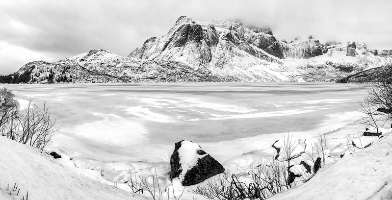Panorama of frozen Lake Storvatnet