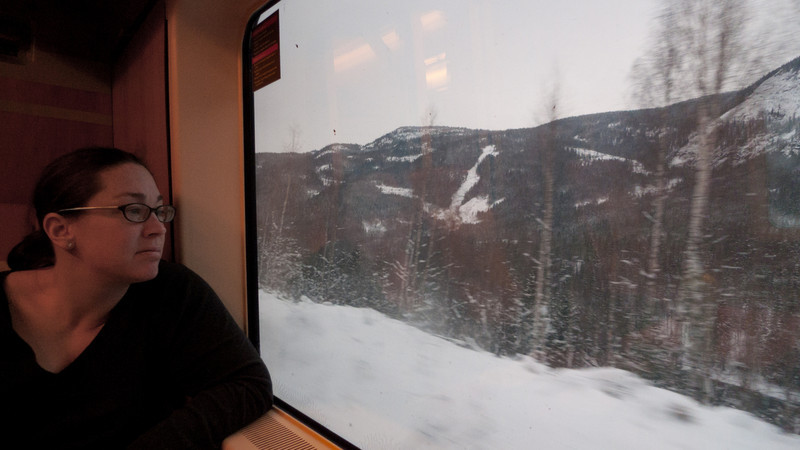 Enjoying the views on the Oslo to Myrdal train