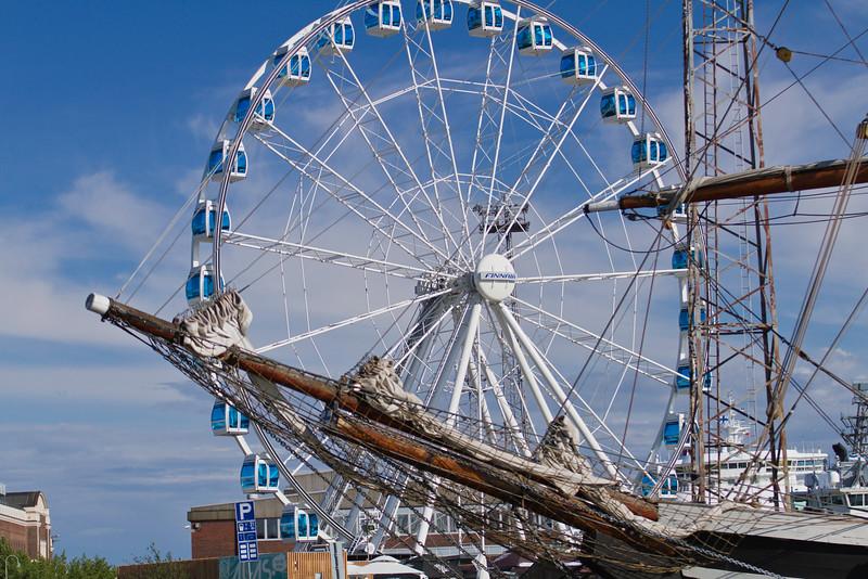 Ferris wheel and sailing ship in Helsinki, Finland