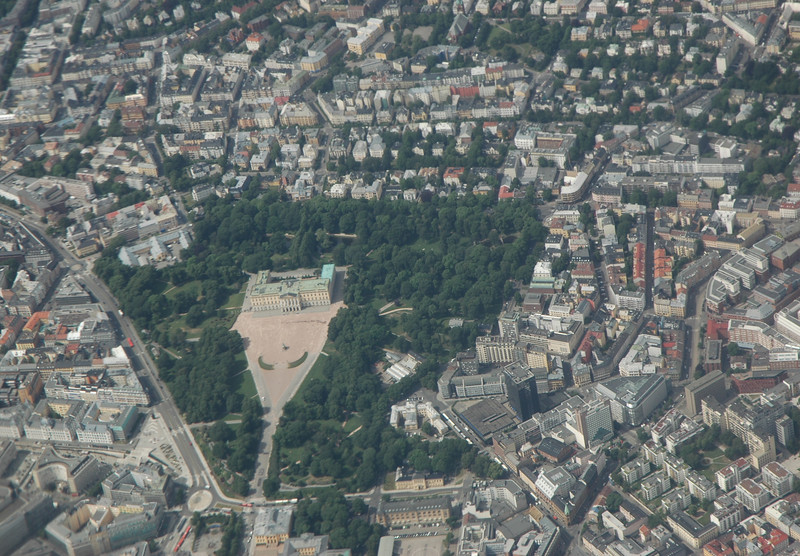 The Royal Palace in Oslo, from an airplane.