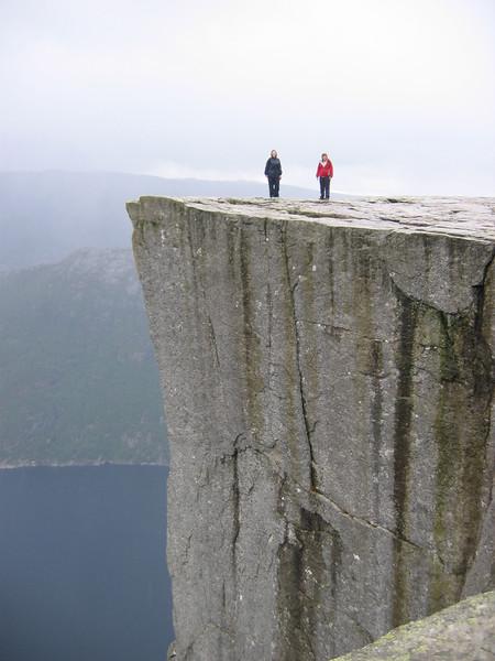 On the Preikestolen - again, Ingrid hates heights.
