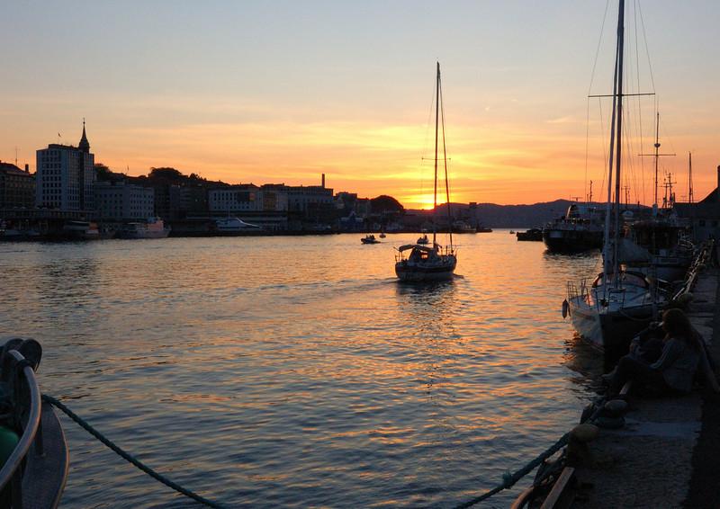 Bergen harbour at sunset