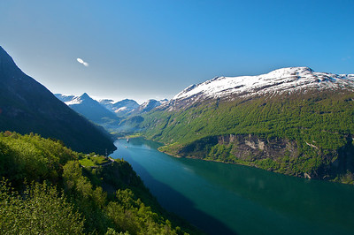 Looking toward Geiranger Norway over the Geiranger Fjord