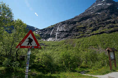 At the bottom of the Troll Road outside of Geiranger Norway.  http://en.wikipedia.org/wiki/Trollstigen